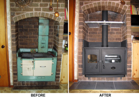 The Wagener Fairburn will fit into most existing brick alcoves which have previously accommodated an older style wood or coal range. (ie brick with 25mm air space behind) Leg height can be modified to suit if required.